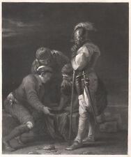 SOLDATI GIOCO DADI AZZARDO Soldiers Gambling - Incisione 1800 Salvator Rosa