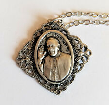 """Pope Francis Pewter Catholic Religious Charm Pendant Necklace w 20"""" Rope Chain"""