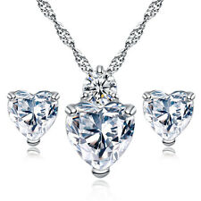 925 Sterling Silver heart crystal clear stunning bridal jewelry set wedding