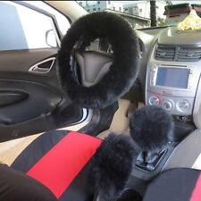 1 Set Plush Black Wool Warm Steering Wheel Cover Woolen Car Grips Accessory Hot