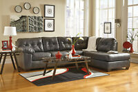 Modern Style Living Room Gray Bonded Leather Sectional Sofa Couch Chaise Set G1J