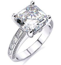 1.90 Ct. Asscher Cut Baguette & Round Diamond Engagement Ring E,VS2 GIA 14k WG