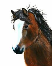 A4 Welsh Pony Acrylic Painting Signed Limited Edition Print Equine Gift Horse