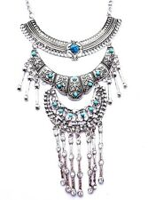 """SILVER BOHEMIAN TIERED NECKLACE statement turquoise """"stones"""" tribal Tibetan B6"""