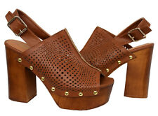 Qupid Women's Perforated Slingback Studded Wooden Platform Heel Size 8.5 Mule