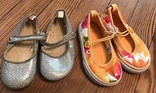 Baby Girl Used Gap Silver Shoes  / Gymboree Sunflower Shoes Sz 5 Lot