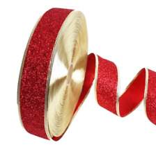 2M Christmas Ribbons Glitter Ribbon Holiday Decor Xmas Gift Wrapping Gold