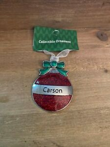 CARSON Personalized Collectible Ornament by GANZ Red Glitter Christmas Ball