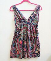 Zara Collection Floral Sun Dress Size Small Sleeveless V-Neck Womens