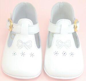 DE OSU-FARO - Baby Girls White Leather Dress Crib Shoes - European -US Sizes 2-4