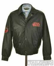STAR WARS X-WING ROGUE SQUADRON Black Leather Mens Jacket Coat - SMALL