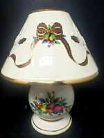 LENOX Holiday Tartan Candle Lamp Ivory Ceramic Shaded Votive Holder With Box