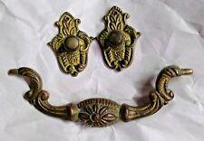 "Ornate Solid Brass Bail Knocker Furniture Drop Pull Used Vintage 3 3/4"" C-C"
