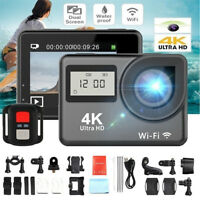4K 1080P HD 2'' Dual Screen Sport Action Camera DV WiFi Waterproof As Go Pro  ~T