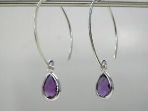 Beautiful 10KT White Gold Amethyst Earrings, Well Crafted Modern Piece!