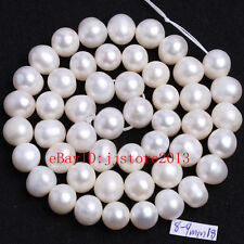 """8-9mm Natural White Freshwater Pearl Oval Shape Gems DIY Loose Beads Strand 15"""""""