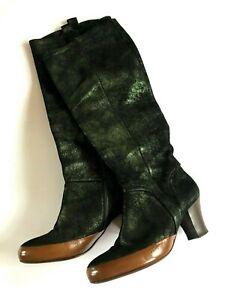 DRIES VAN NOTEN Knee High Boots Green Shimmer Suede Size 38