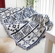 SML-Large Reversible Aztec Navajo Cotton Throw Blanket Tapestry Picnic Rug Navy