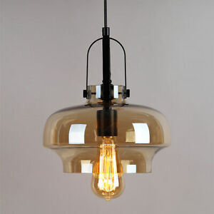 Modern Amber Vintage Industrial Retro Glass Ceiling Lamp Shade Pendant Light
