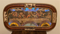 Vintage The Last Supper Mixed Media Framed Art Tray w Butterfly Wings - Brazil