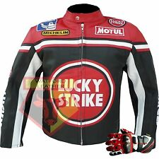 Lucky Strike 0113 Red Genuine Leather Motorcycle Motorbike Biker Racing Jacket