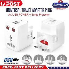 World Universal Travel Adapter With USB Convector Wall Plug Power AU USA UK NZ