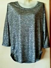 29ca601da59e1 BNWOT WALLIS STUNNING LADIES SILVERY BLACK-GREY LONG SLEEVE STRETCH  LONGLINE TOP