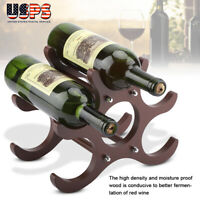 Wood Wine Rack Organizer Stand Display Stores 6 Bottles Wine Tabletop Champagne