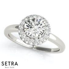 Fine 18K Gold Halo Genuine Diamond Engagement Ring
