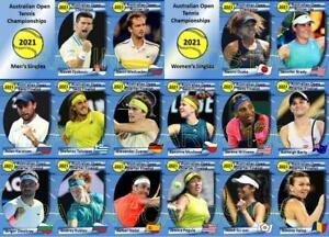 Australian Open 2021 Tennis Trading Cards Djokovic Medvedev Osaka Brady