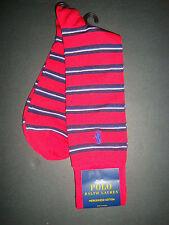 NEW POLO RALPH LAUREN MEN'S MERCERIZED COTTON DRESS SOCKS RED WITH STRIPES