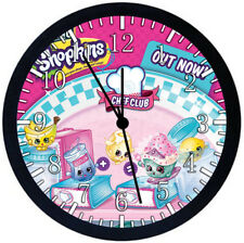 Shopkins Black Frame Wall Clock Nice For Decor or Gifts E485
