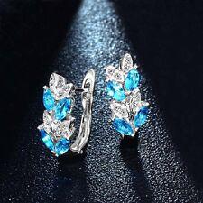 Women's Red Crystal 925 Silver Plated Ear Stud Hoop Earrings Jewelry Gift