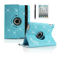 New 360 Rotating Swivel Bling Crystal PU Leather Case Flip Cover for iPad 2 3 4
