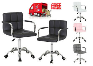Swivel PU leather Cushioned Computer Office Armchair Adjustable (109) 4 colors