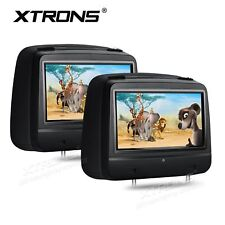 "2x In Car Pillow Headrest Monitor CD DVD Player 8"" Digital Touch Screen USB/SD"