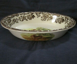 Spode Woodland oval serving dish bowl bunny rabbit pheasant brown transferware