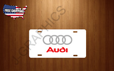 Audi Rings Vehicle WHITE License Plate Auto Tag S4 S5 TT RS A4 A6 A8 NEW
