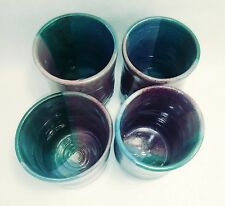 Stoneware tumbler multi color set of 4 , Lead free 10 oz Red, Blue, Green & Grey