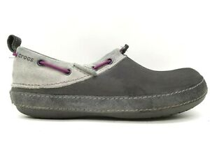 Crocs Logo Gray Leather Casual Slip On Loafers Shoes Women's 8