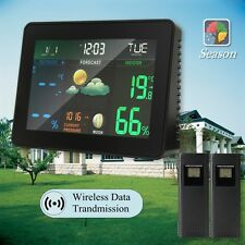 LCD WIRELESS HOME WEATHER STATION w/ DIGITAL CLOCK INDOOR OUTDOOR THERMOMETER