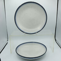 2 Salad Plates / Pasta Bowls Dip-Dye Blue Speckled Lucky Brand Home Stoneware