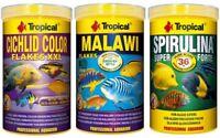 3 x 1000 ml Tropical Futter Cichlid Flocken Malawi Spirulina Forte