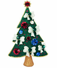 RUCINNI X'mas Tree Brooch, 20K Gold plated and Swarovski Crystal