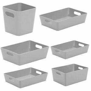 Wham Studio Basket Home Kitchen Bathroom Office Plastic Storage Boxes Cool Grey