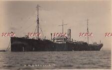 "Royal Navy Real Photo Postcard. HMS ""Sandhurst"" Dummy HMS ""Indomitable"" c 1920s"