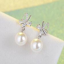 Elegant Rhinestone Jewerly Women Crystal Butterfly Ear Stud Pearl Earrings Pop