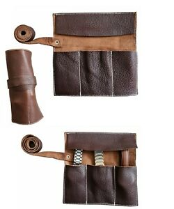 Geniune Leather Natural Dark Brown Watch Roll for Travel & Storage Gift for Him
