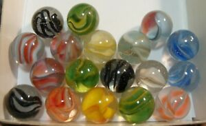 18 Vintage Cats Eye Marbles Multicolor Hybrids & HTF Black Caged Very Colorful