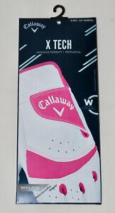 NIB Callaway Women's White/Pink X Tech Performance Left Hand Golf Glove sz M